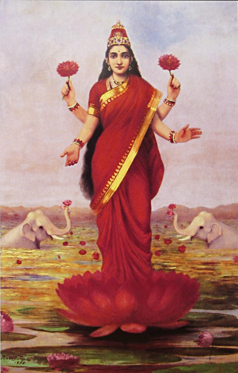 'Goddess Lakshmi', Raja Ravi Varma, 1896