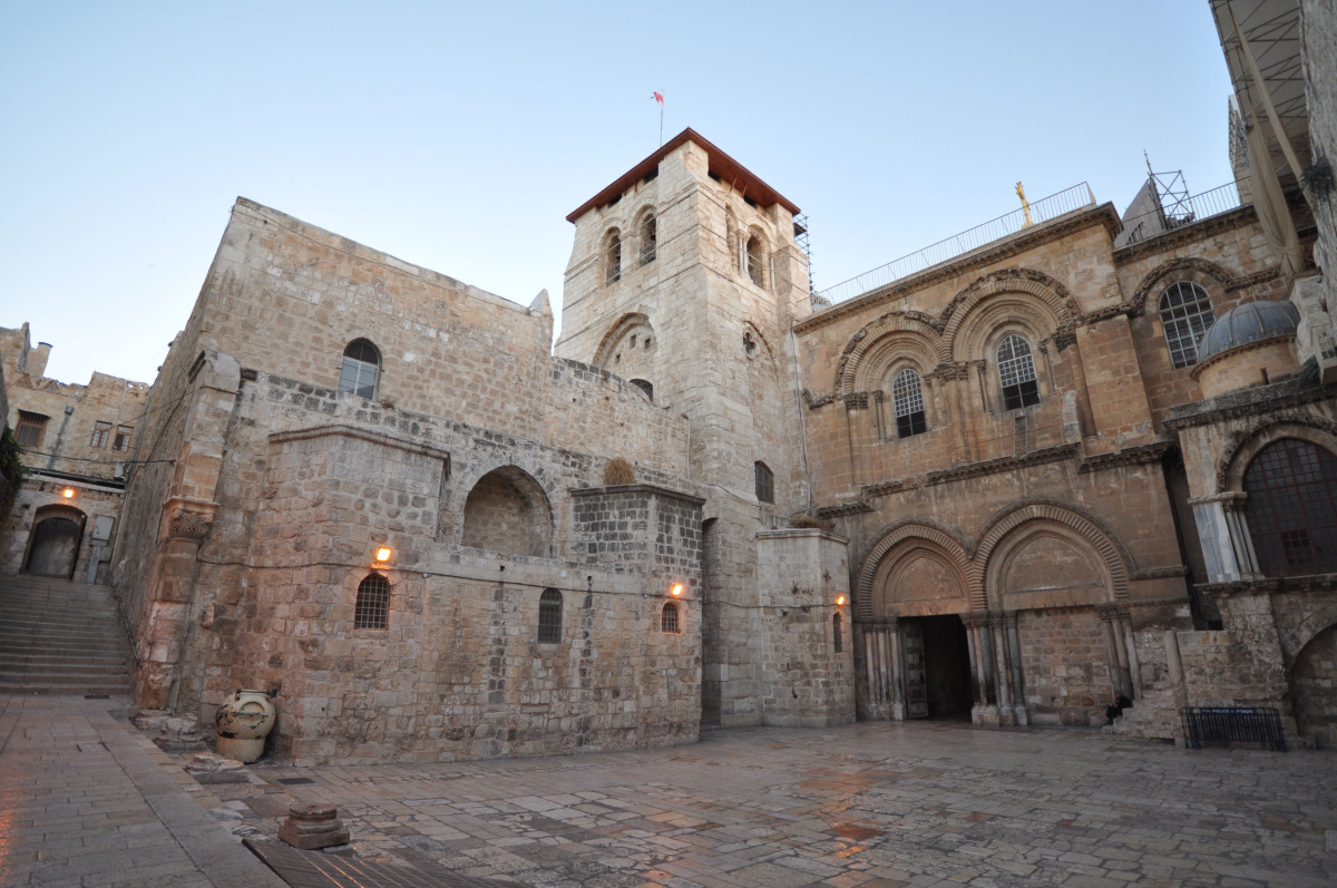 The church of the Holy Sepulchre is a church in the Christian Quarter of the Old City of Jerusalem, a few steps away from the Muristan. The church contains, according to traditions dating back at least to the fourth century.