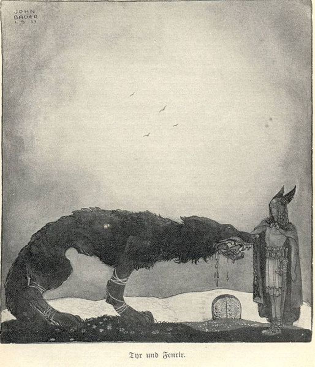 'Tyr and Fenrir', John Bauer, 1911.