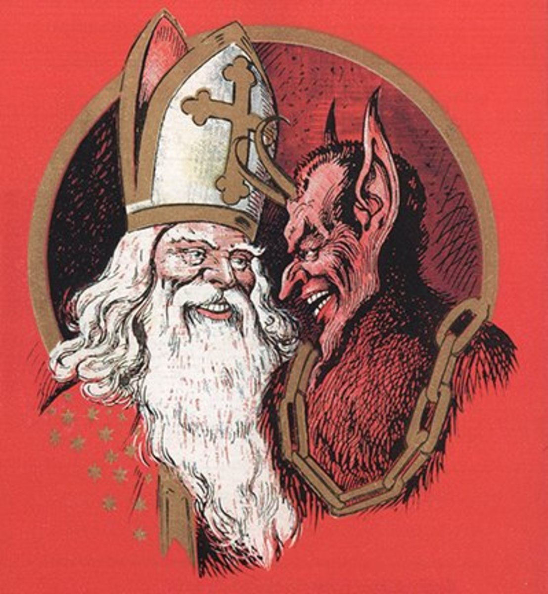 Austrian St Nicholas and Krampus c. 1900