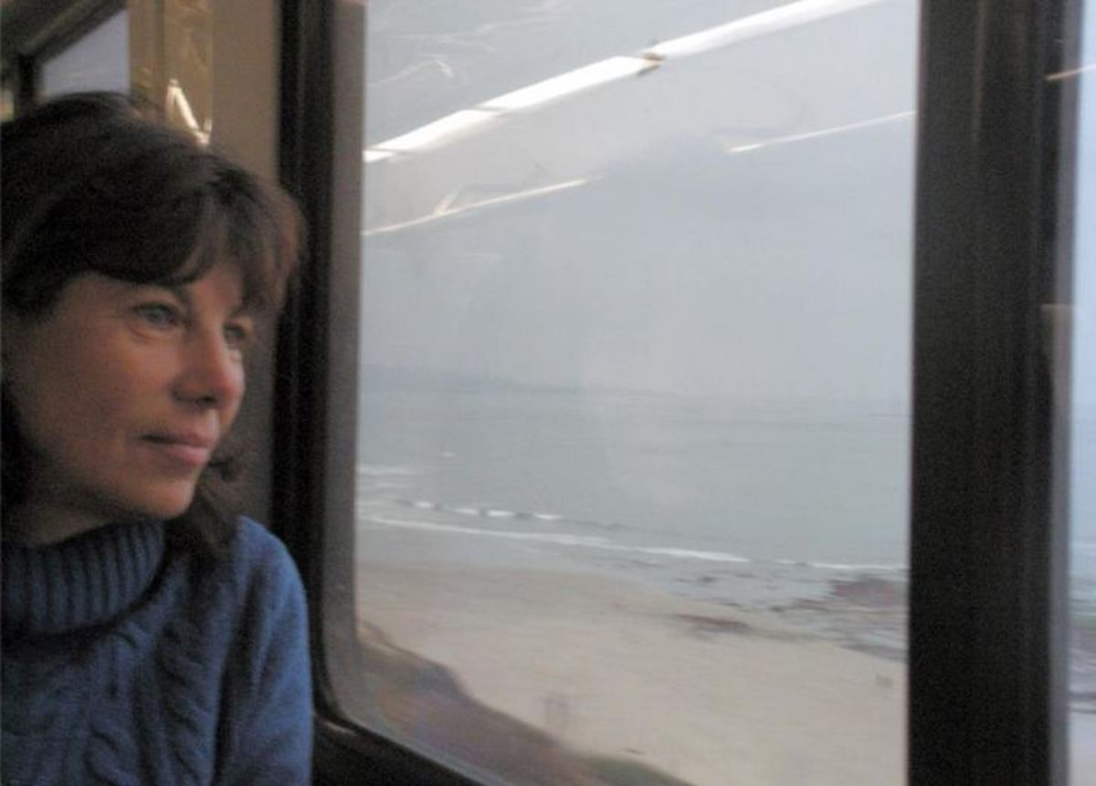 Me, age 61, on the train somewhere between LA and San Diego!