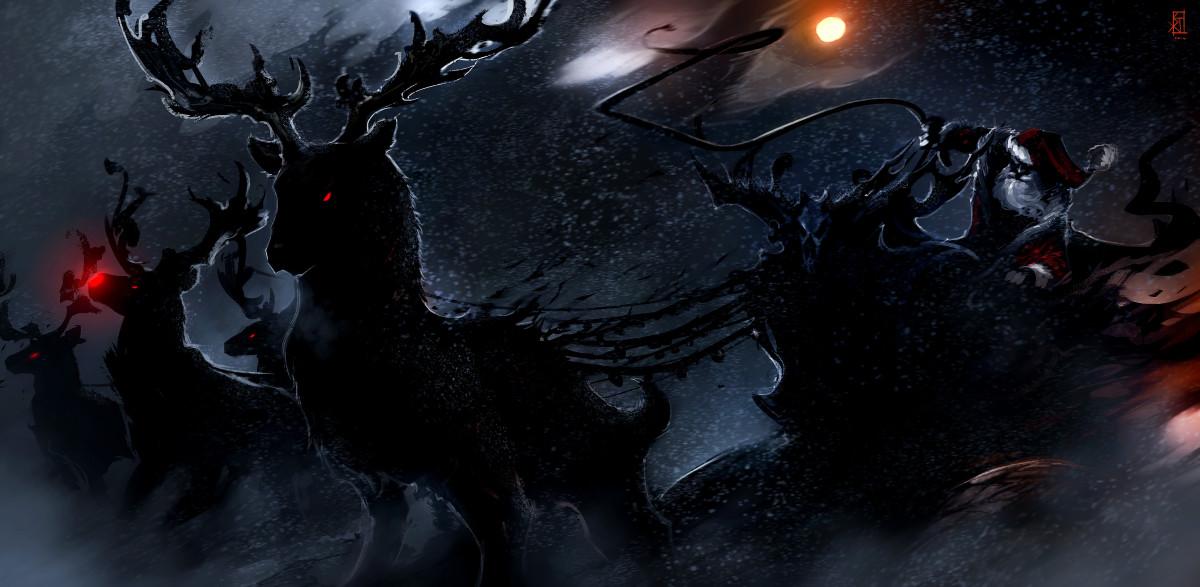 A dark Christmas landscape