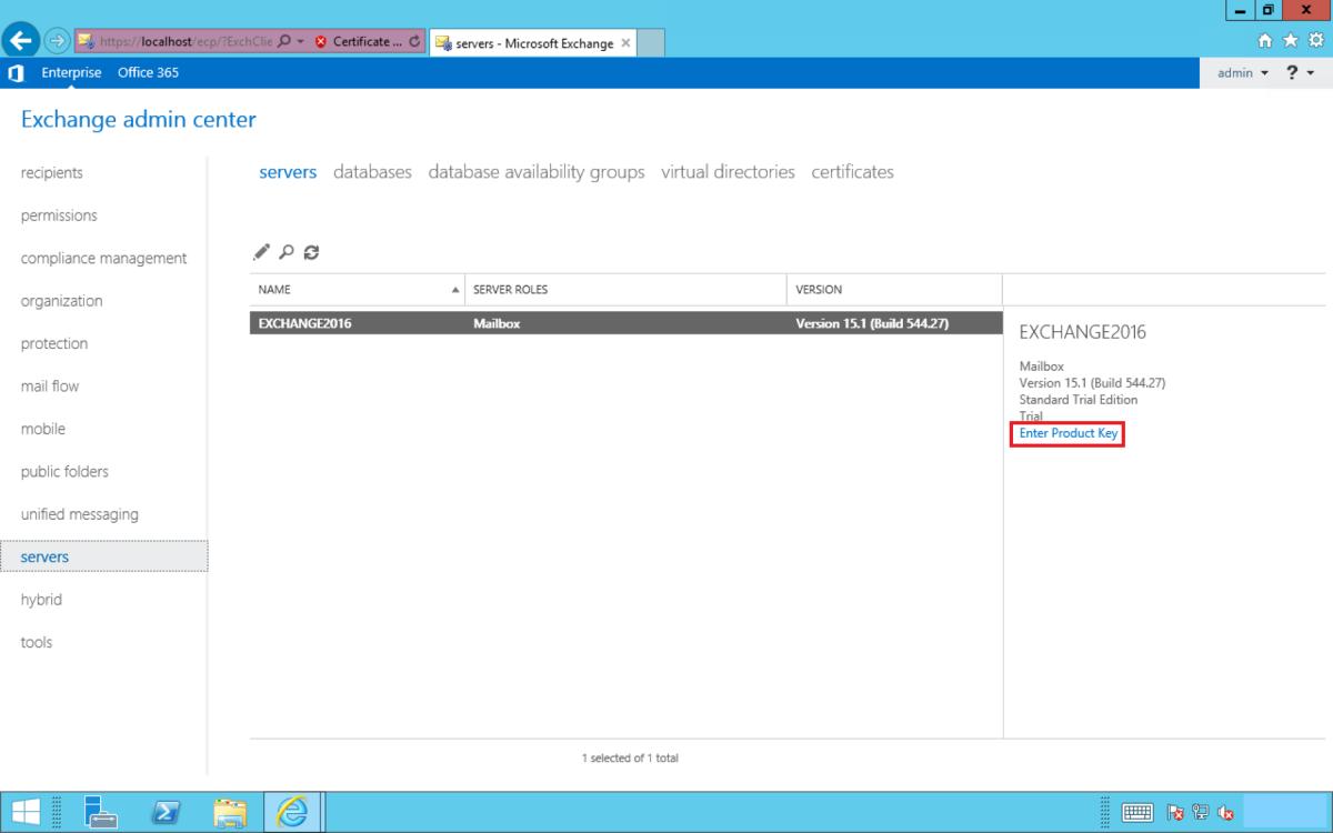 get exchange server product key