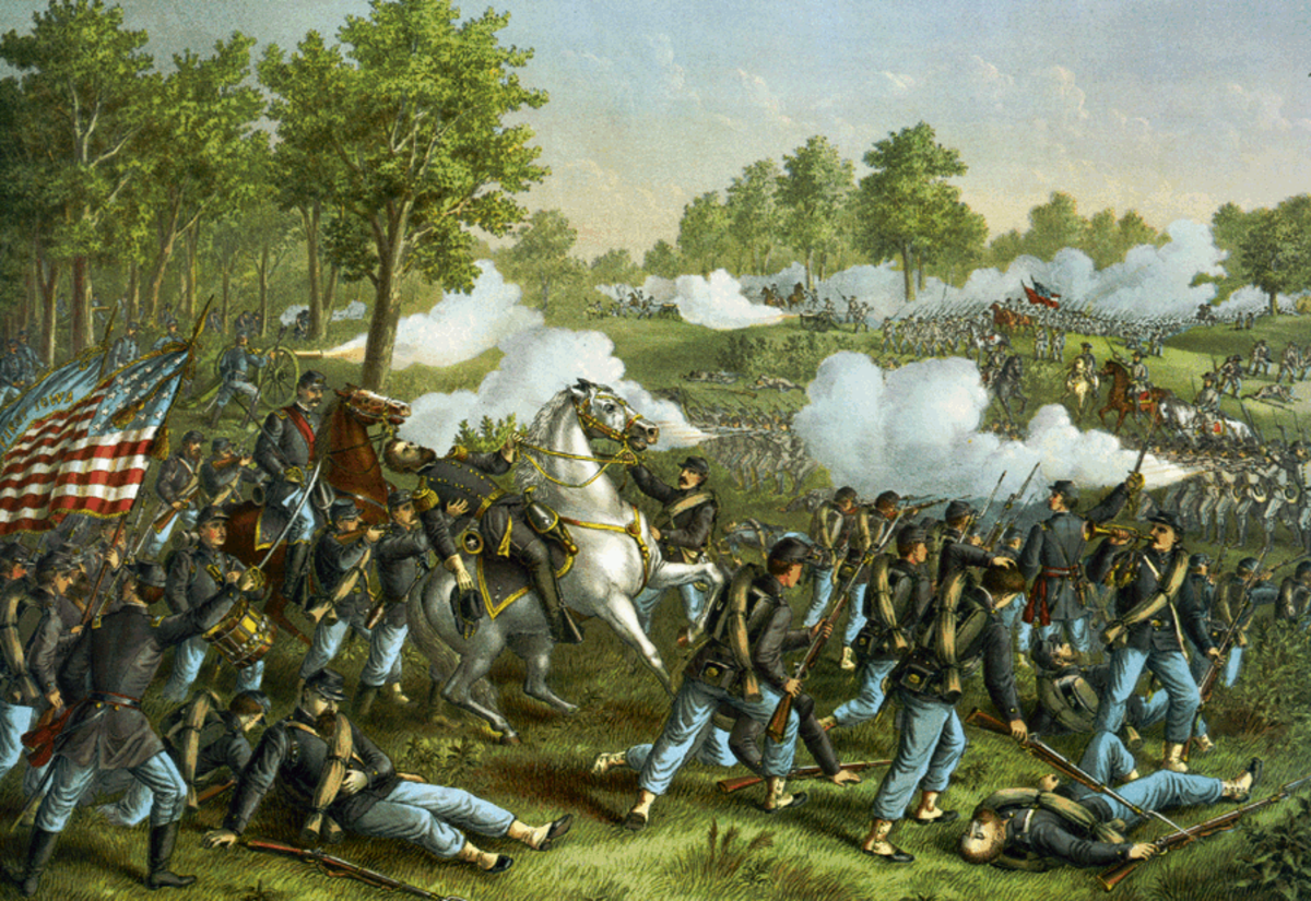 The leader of the Union forces at Wilson Creek, General Nathaniel Lyon, falls mortally wounded with a bullet to the heart the first Union general to die in the Civil War,  as Union troops fight on.