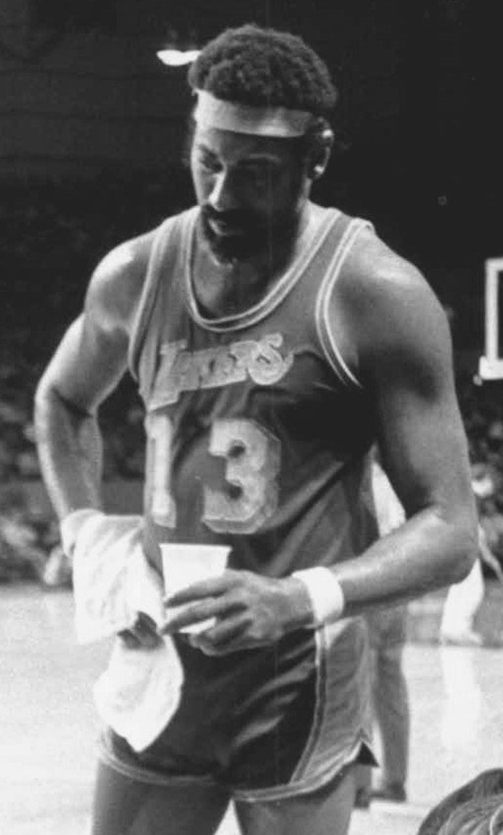 Wilt Chamberlain in 1972 with the Los Angeles Lakers.  No matter where he went, Philly, LA or with the Harlem Globetrotters he dominated.