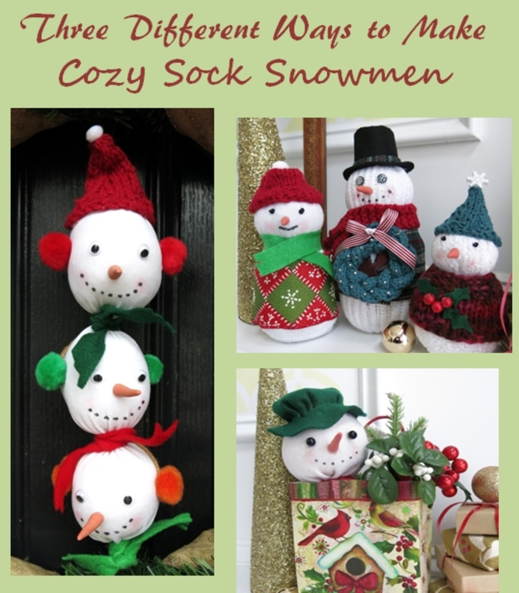 DIY Craft Tutorial:  Three Different Ways to Make Sock Snowmen
