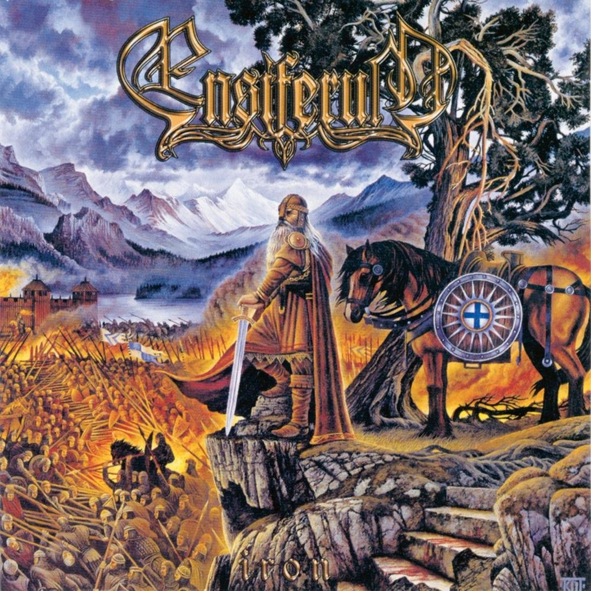 The front album cover depicts a Viking warrior as he stands with his sword in hand confidently looking down at the mass of warriors below.