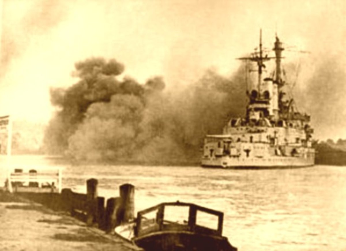 German Battleship Schleswig-Holstein firing point-blank at the Polish garrison on Westerplatte. September 1, 1939.