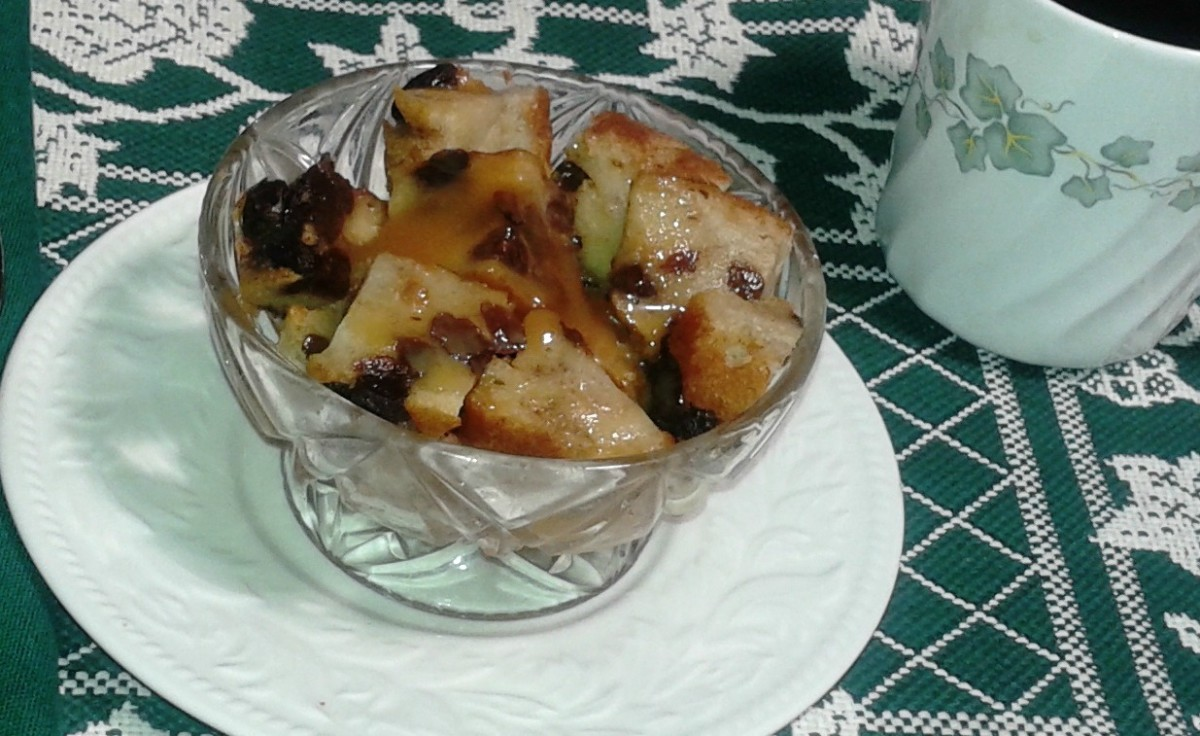 Comfort foods like this bread pudding with apples and caramel sauce lift our spirits.