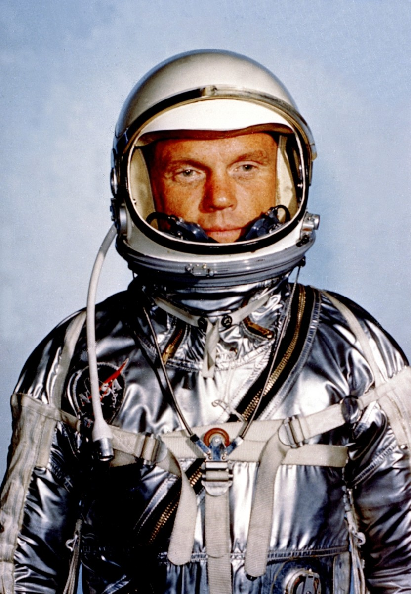 Astronaut John H. Glenn Jr. in his Mercury 6 spacesuit.