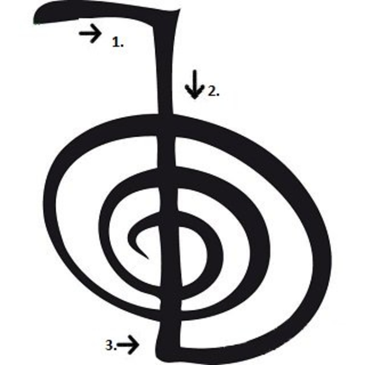 The Cho Ku Rei symbol, with arrows to show the drawing sequence.