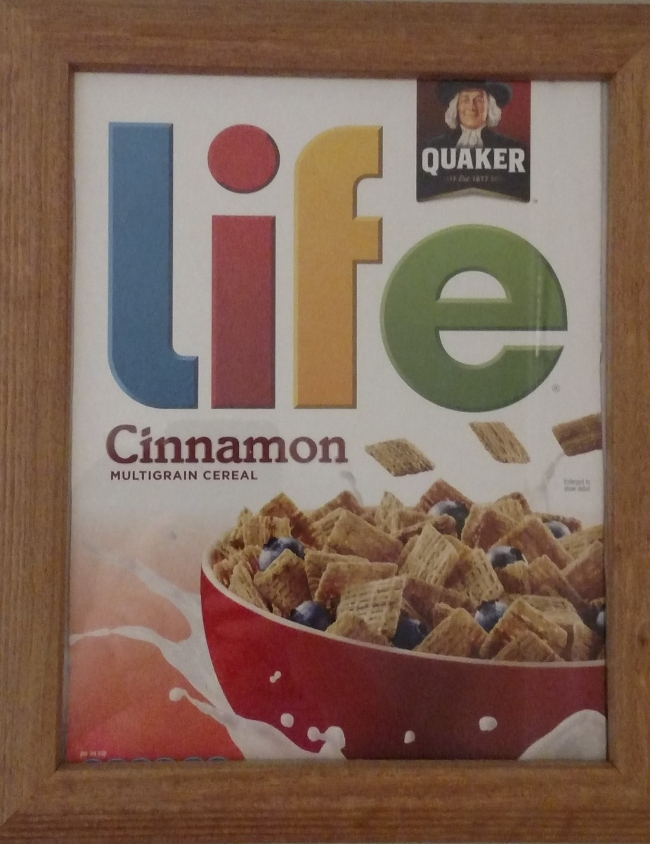 The cereal box is hanging in the kitchen as a reminder.