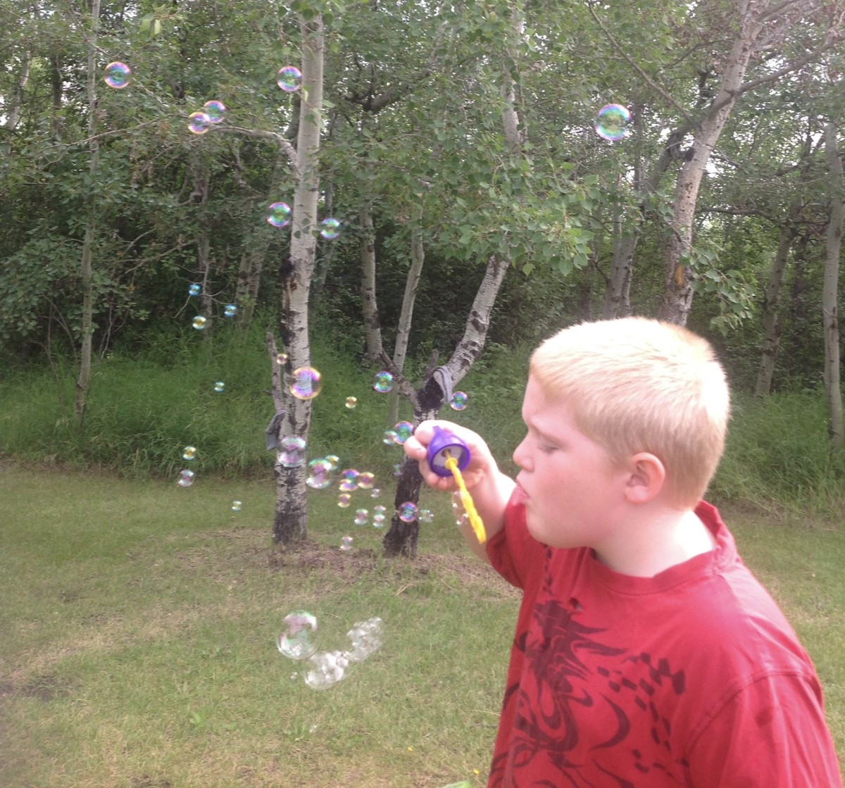Do something fun. Play like a child, Blowing bubbles is fun.
