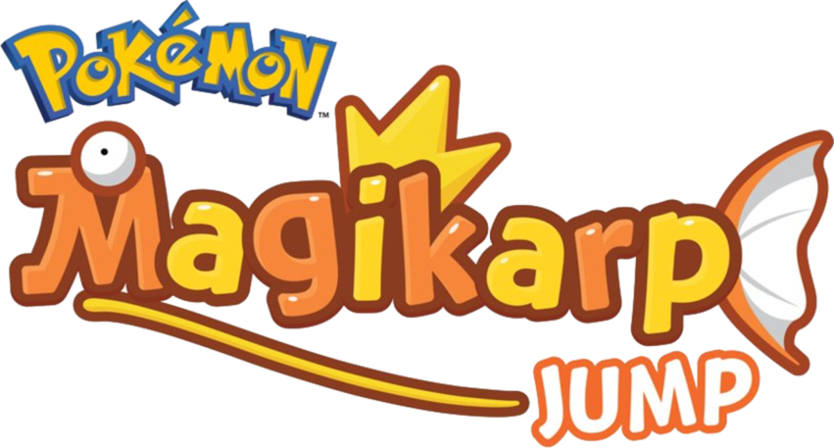 "The logo for ""Magikarp Jump,"" made by the Pokémon Company. (Copyrighted)"