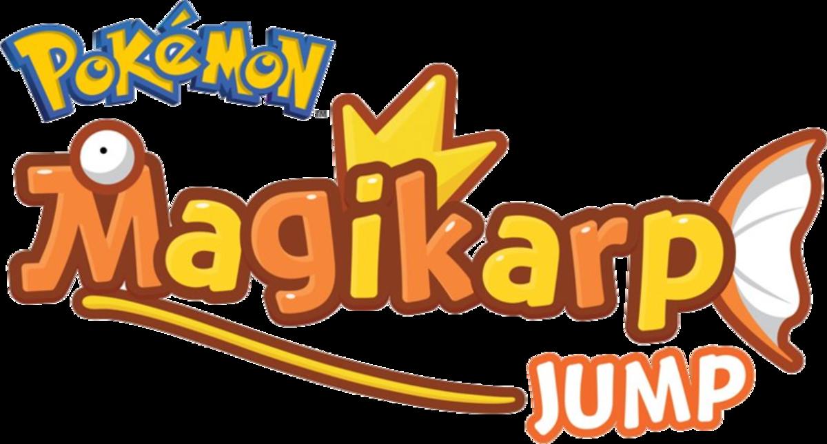 "The logo for ""Magikarp Jump,"" made by the Pokémon Company. (Copyrighted)"