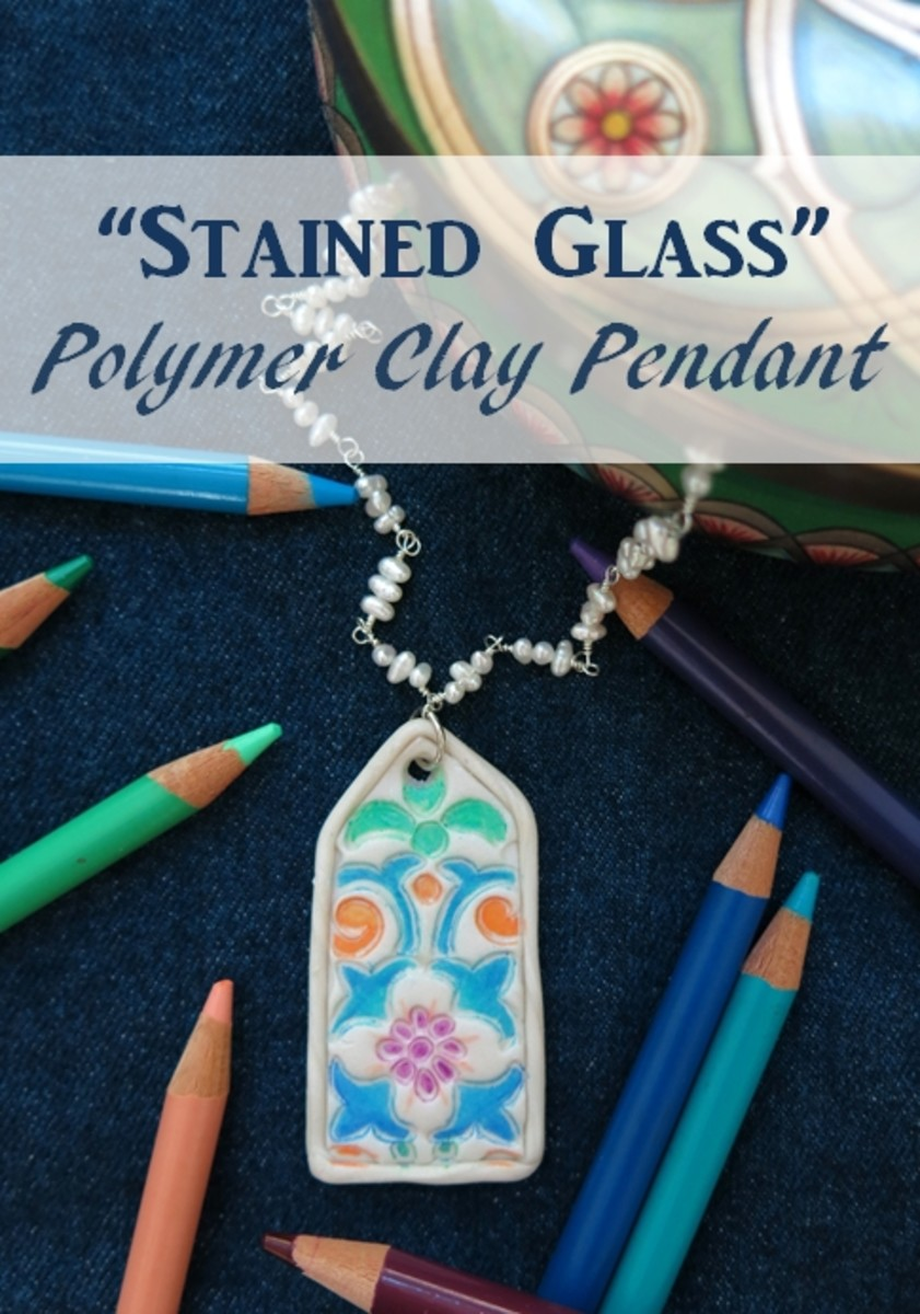 "DIY Jewelry Tutorial:  How to Make a ""Stained Glass"" Polymer Clay Necklace Pendant"