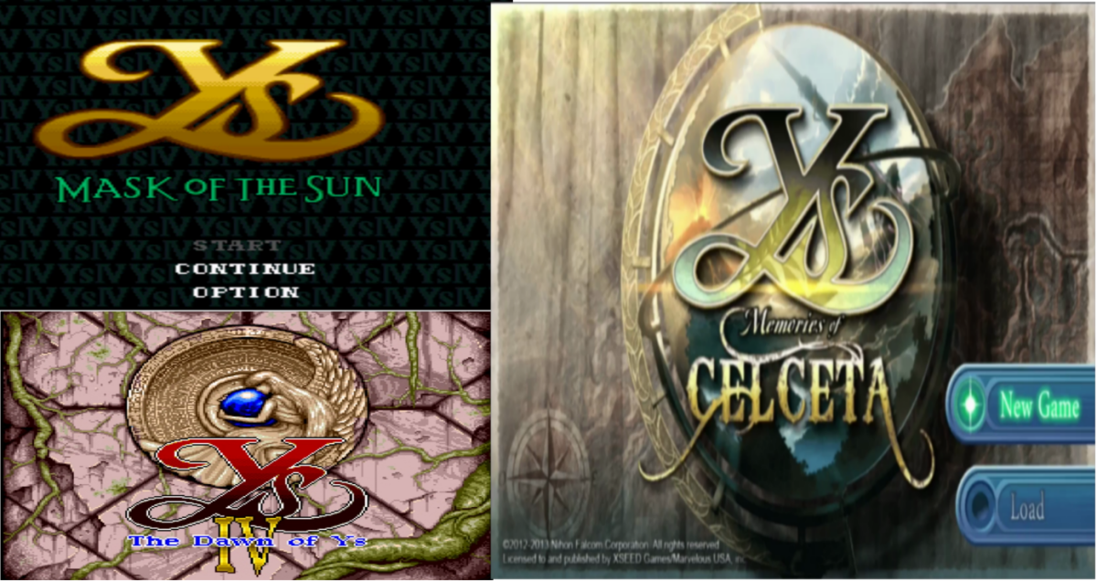 Three games, all called Ys IV. Two are 16-bit RPGs while one is a modern title.
