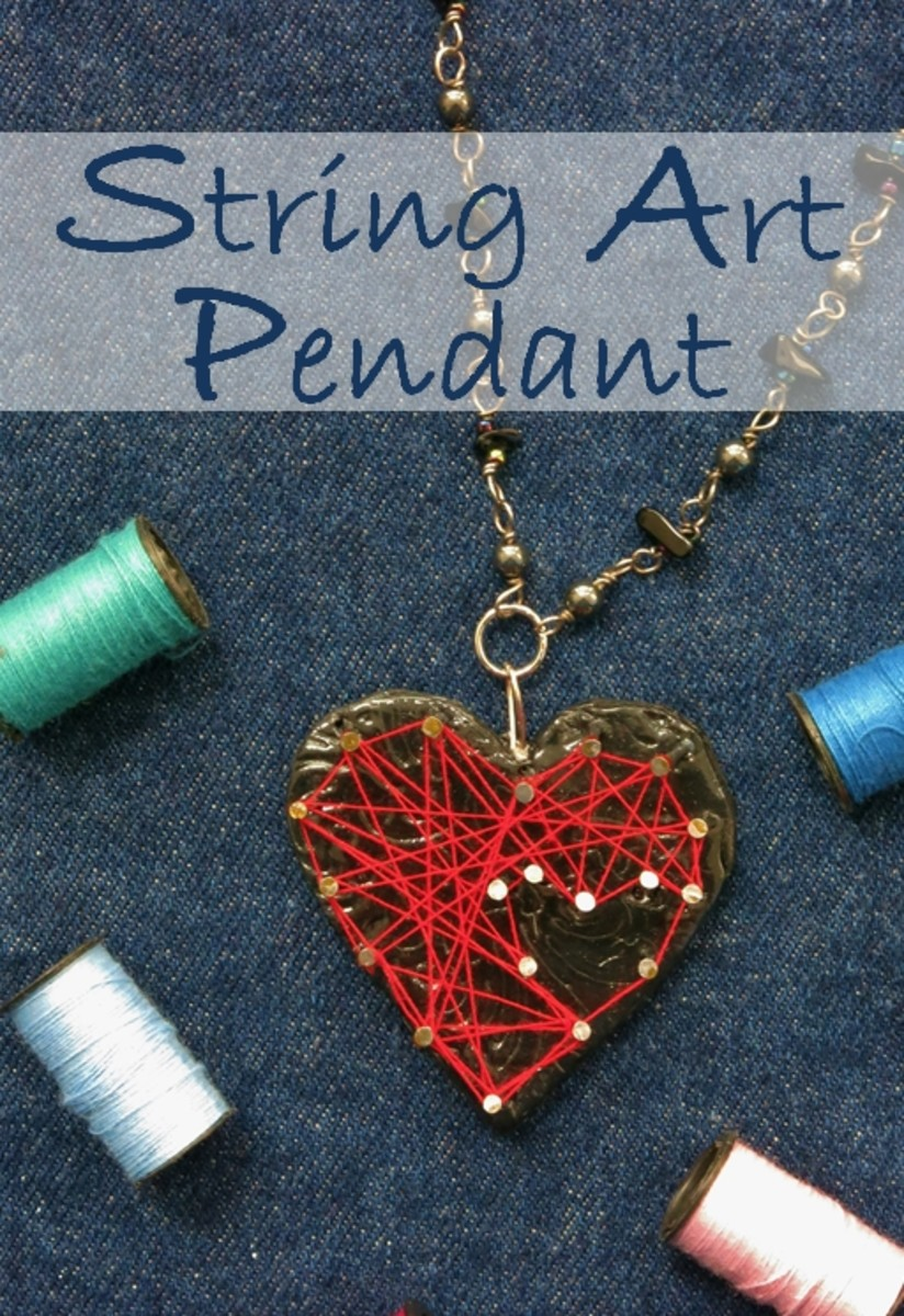 "DIY Jewelry Tutorial:  How to Make a ""String Art"" Necklace Pendant"