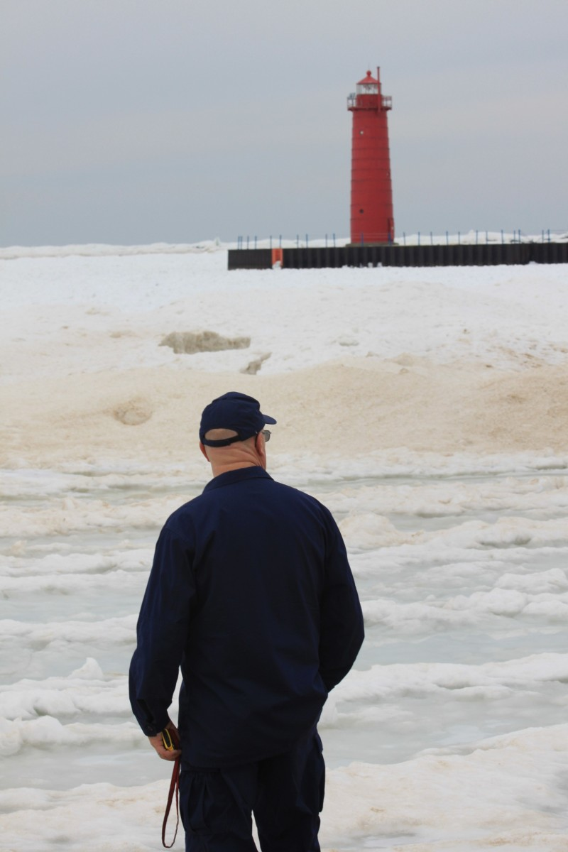 Kim Sears, Coast Guard Auxiliarist, ponders the Muskegon Pier Lights History