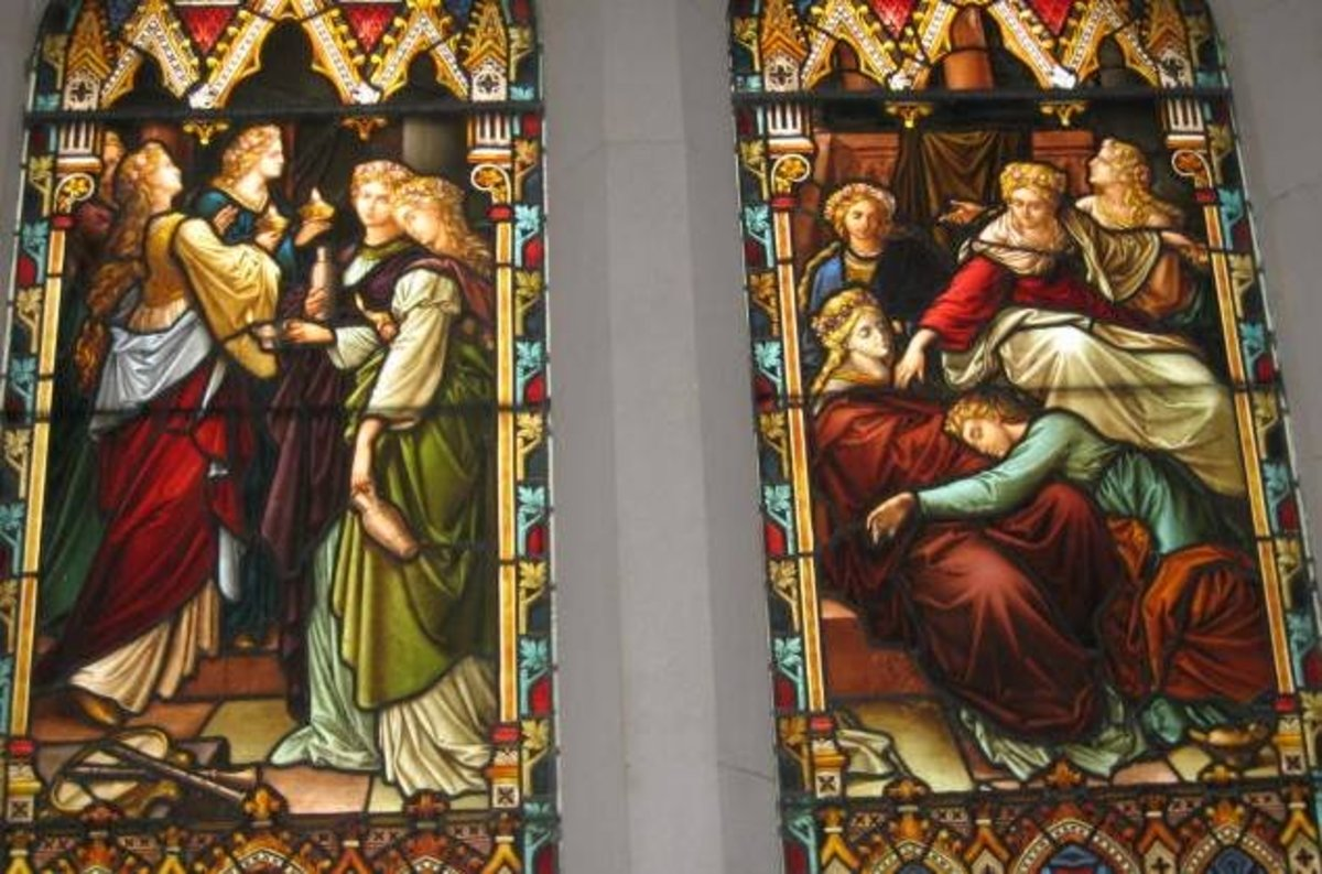 Stained glass window of Ten Virgins at Scots' Church, Melbourne.  Photo by StAnselm