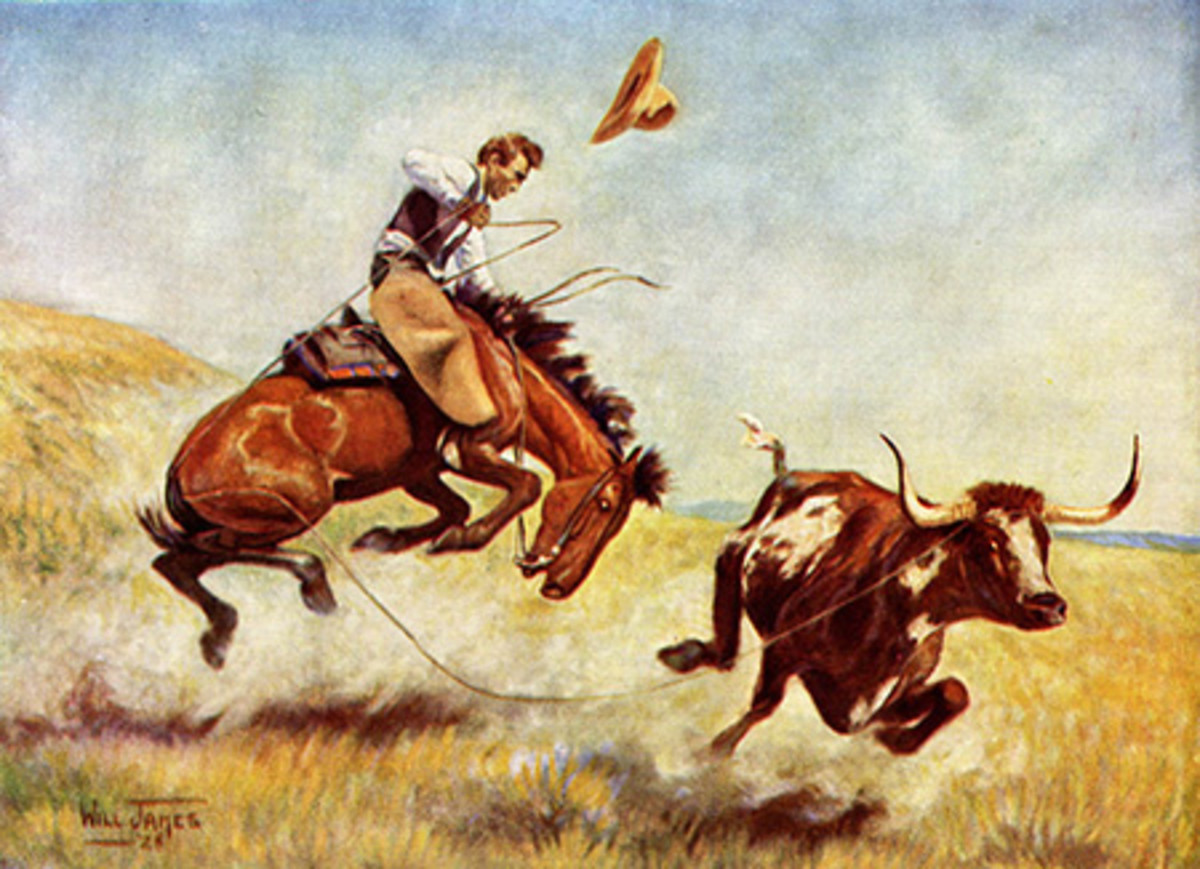 This Will James painting depicts the risks of roping cattle