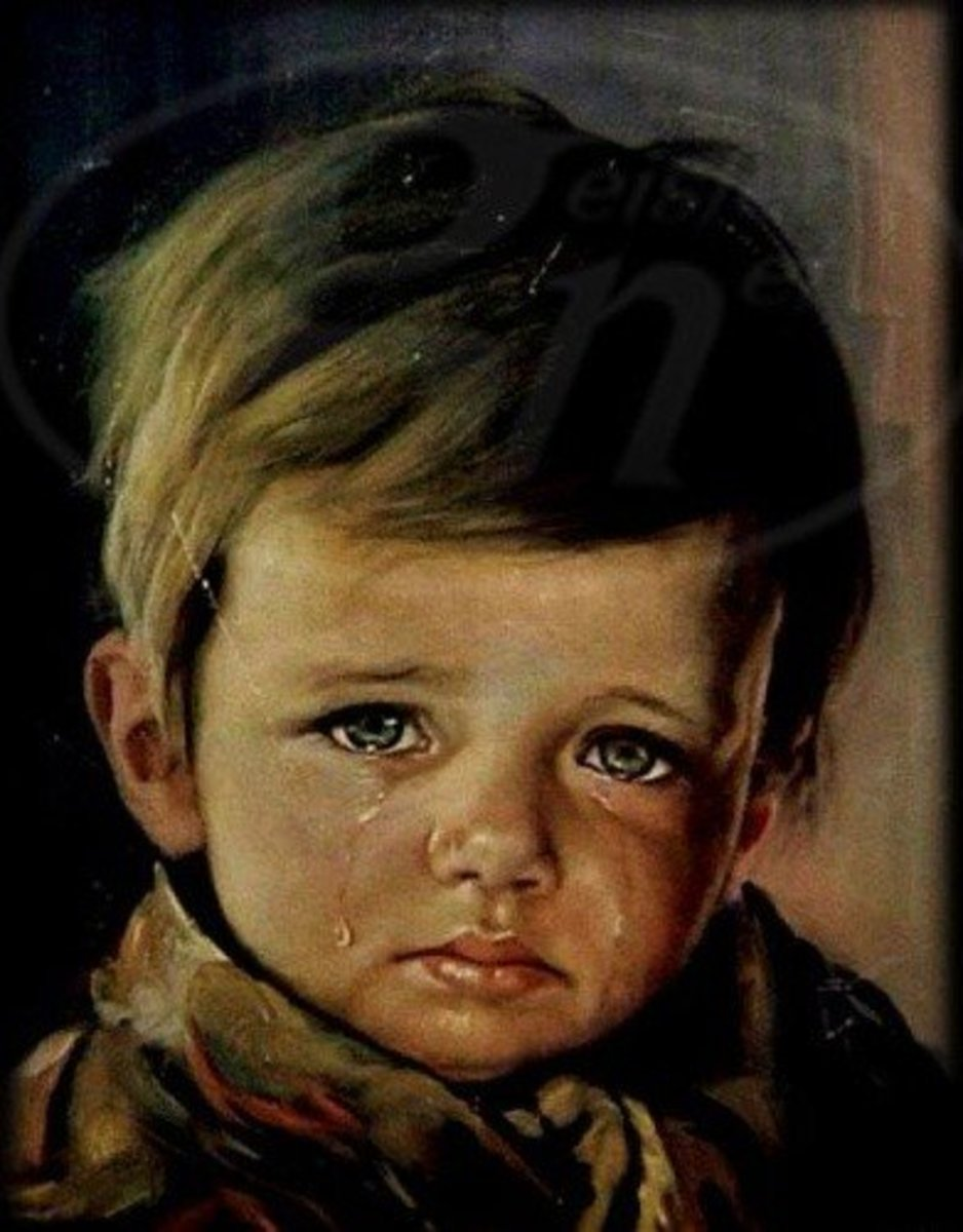 Image result for crying boy painting