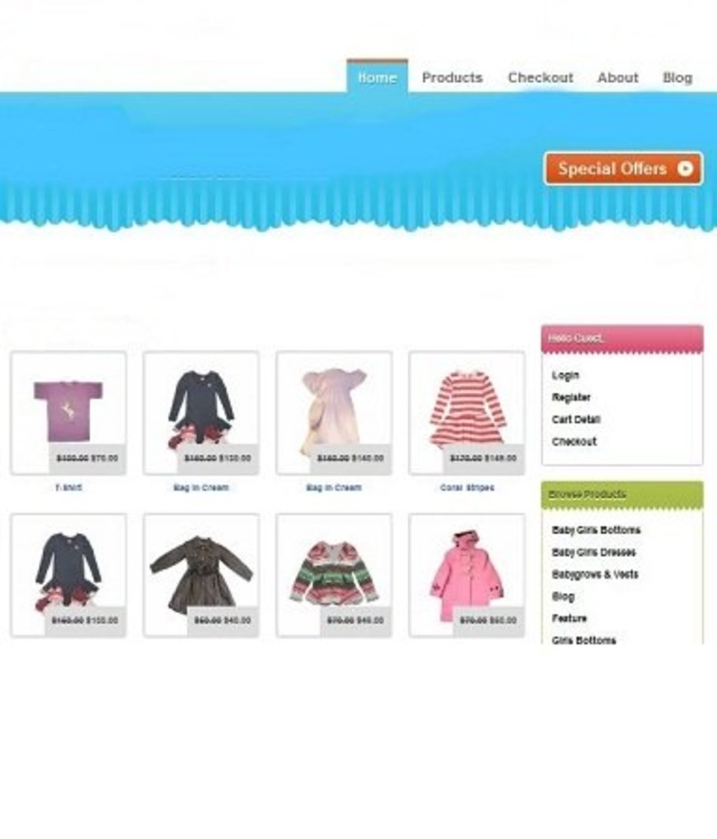 Displayed Products On An Online Shop
