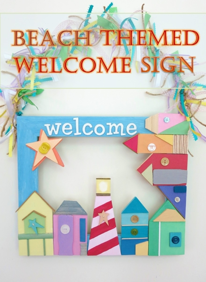DIY Craft Tutorial:  How to Make a Beach Themed Welcome Sign