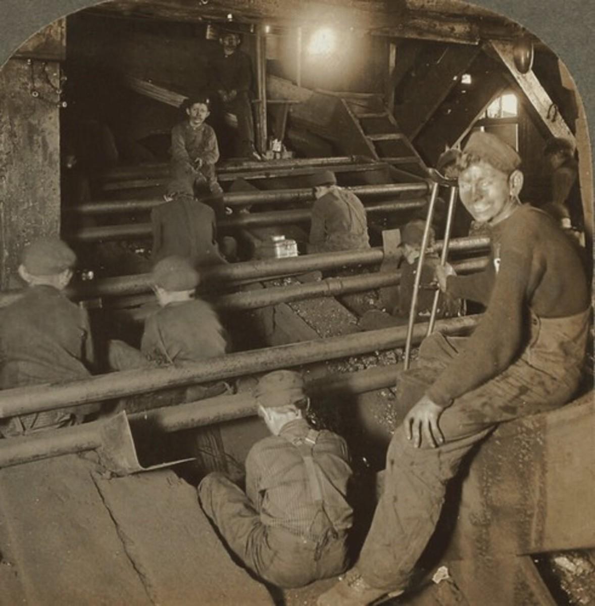 Breaker boys were employed to extract impurities from coal.