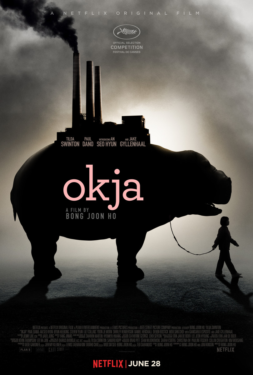 "The official theatrical one-sheet for Bong Joon-ho's ""Okja."""