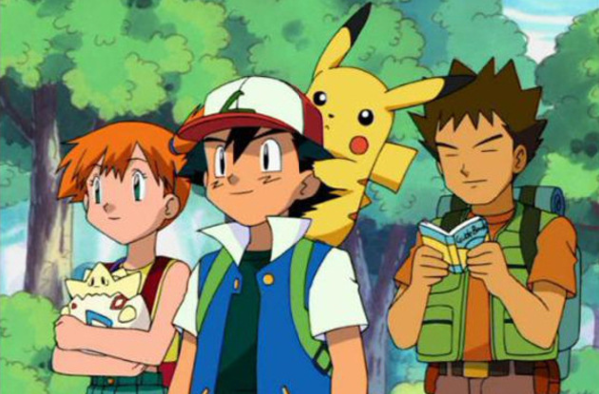 Misty, Ash, Pikachu, and Brock