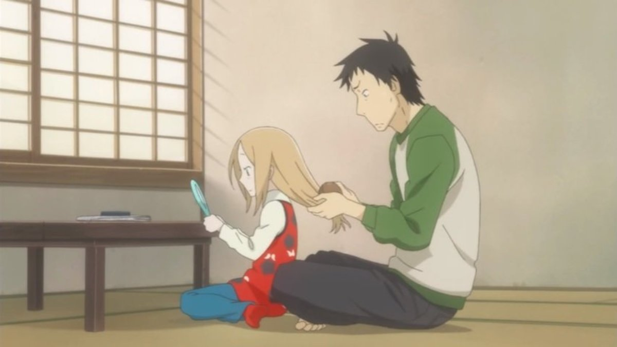 "Daikichi combing Rin's hair in ""Usagi Drop"""