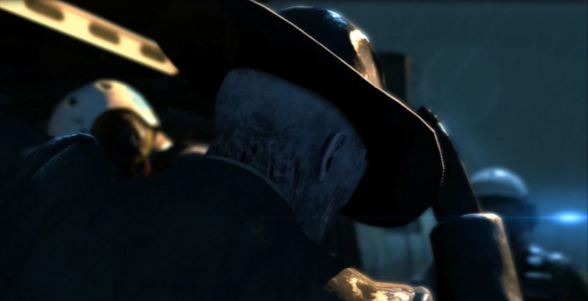 A mysterious new character named Skull Face prepares to board a helicopter. Image copyright of Konami.