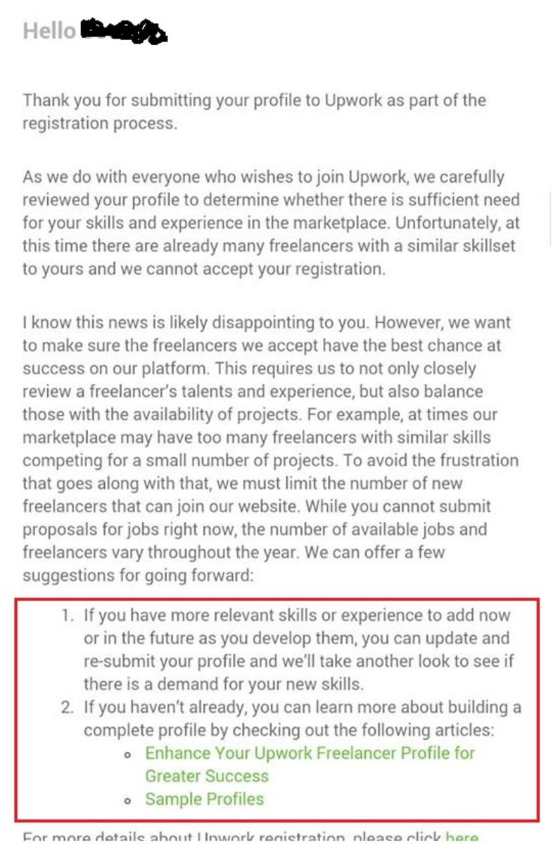 Letter from UpWork stating that the profile was not approved.