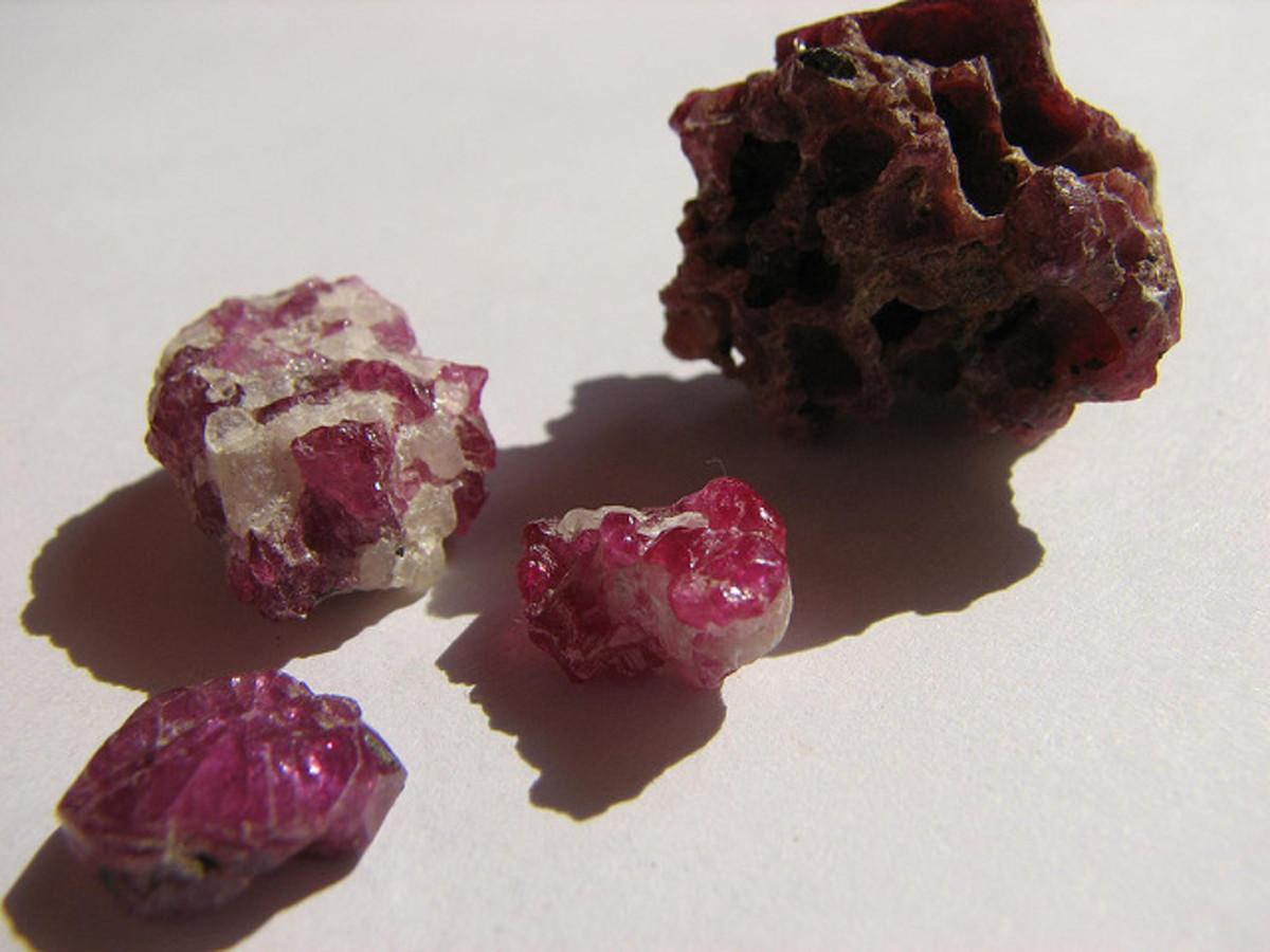 Raw ruby stones.