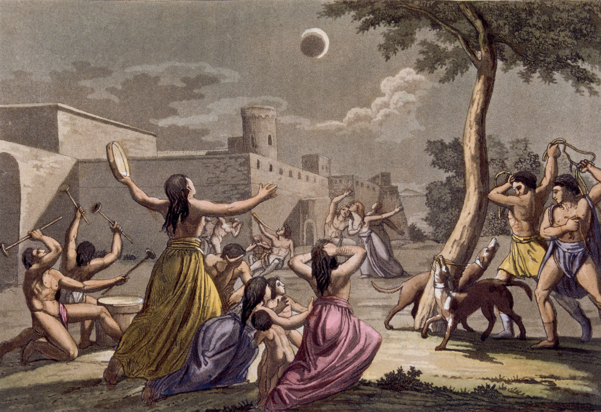 Peruvians terrified during a lunar eclipse, 19th century colour engraving, by Gallo Gallina