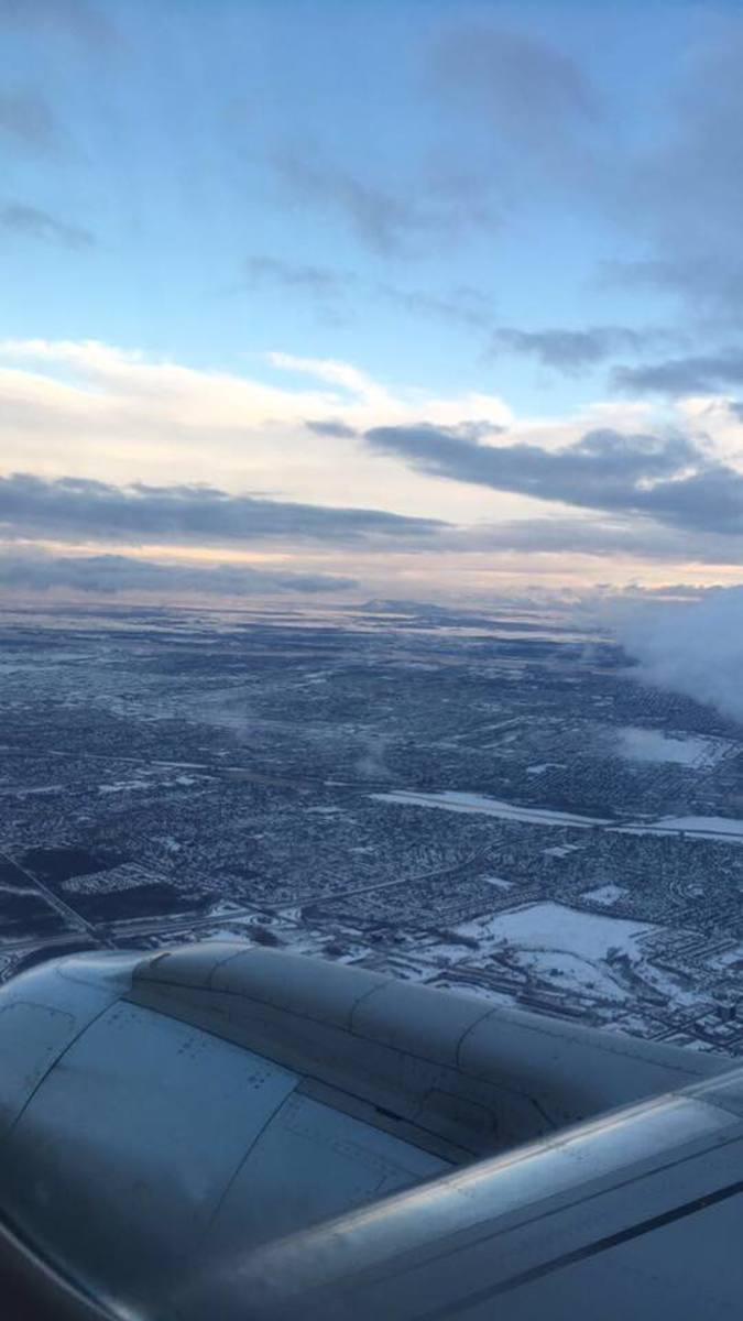 View of Montreal from the airplane.