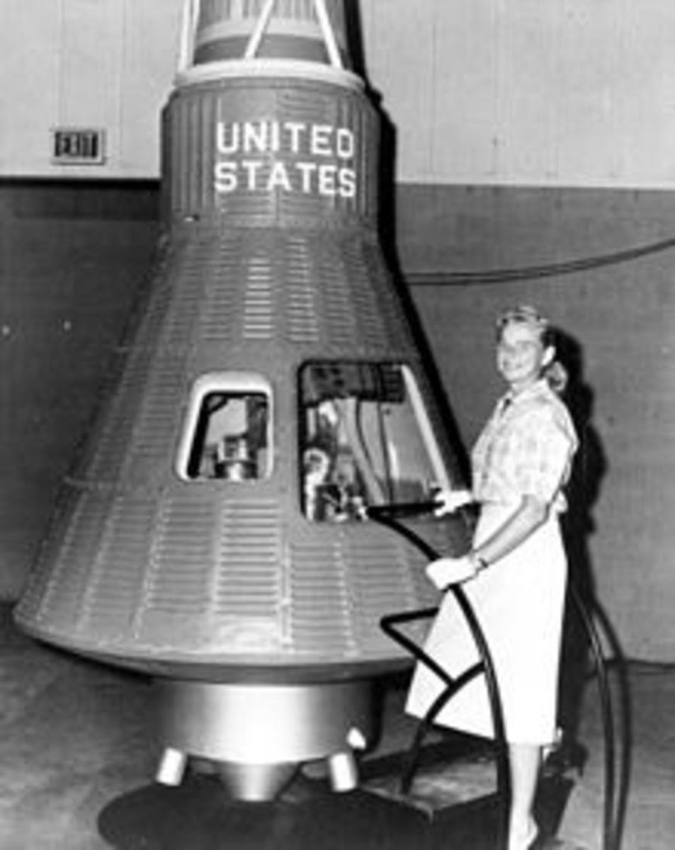 Mercury 13 participant with space capsule
