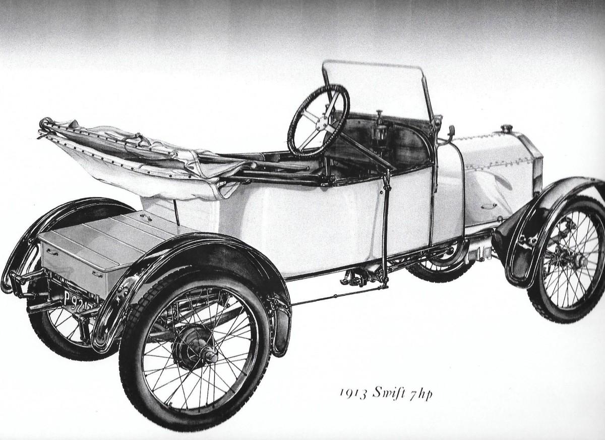 1913年的一辆带金属轮子的雨燕