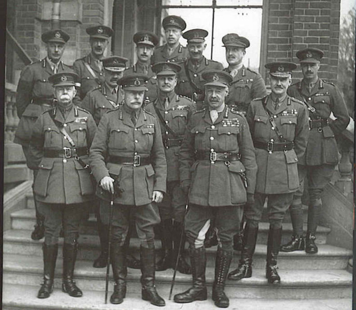 The British military brain trust equipped with mandatory mustaches at the war's end.