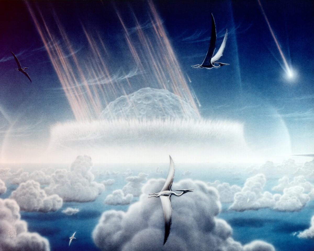 An artists impression of the asteroid that is thought to have wiped out the dinosaurs 65 Ma years ago.