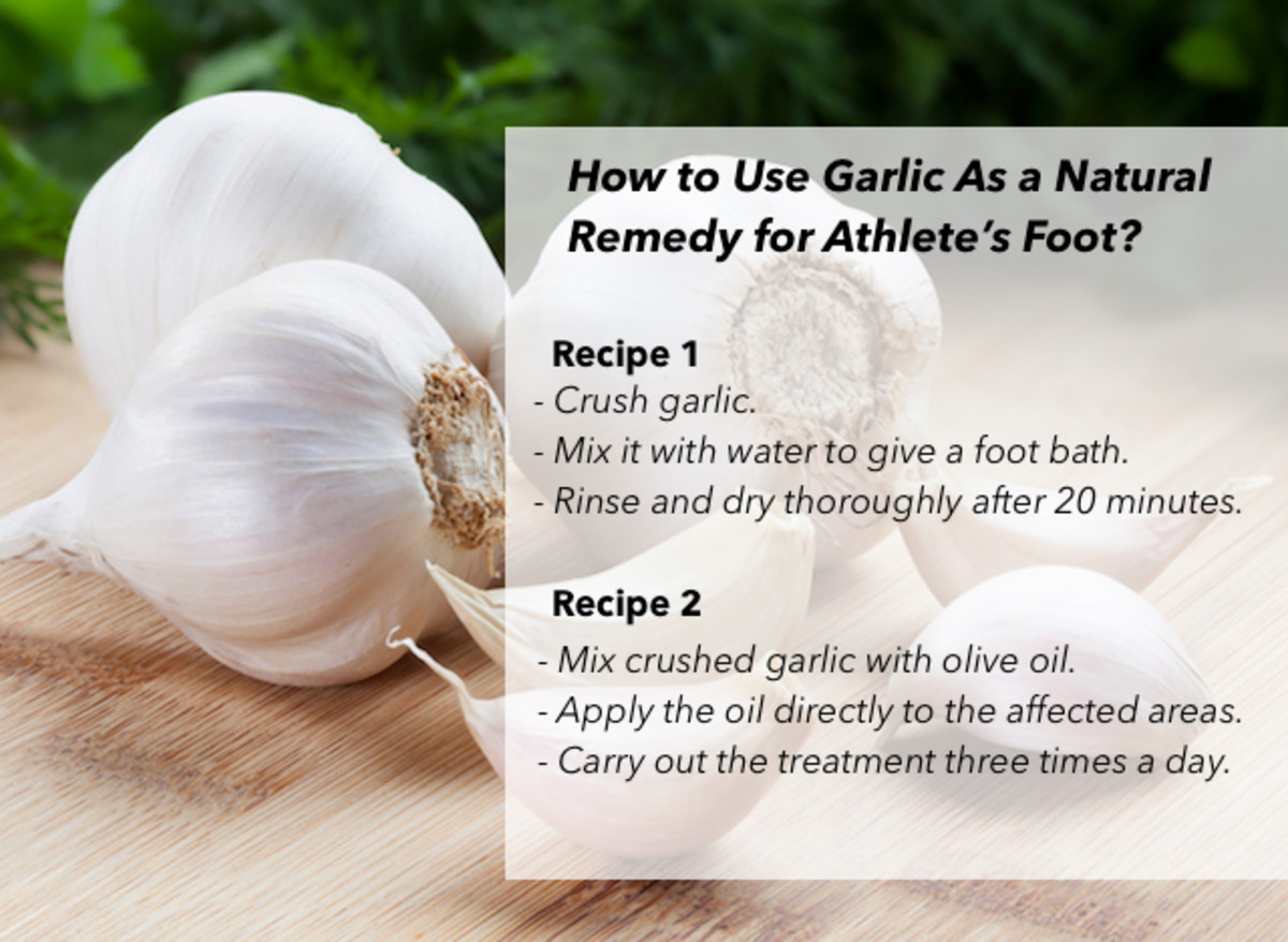 Garlic has a powerful natural antiseptic property, making it one of the most popular home remedies for the treatment for athlete's foot.