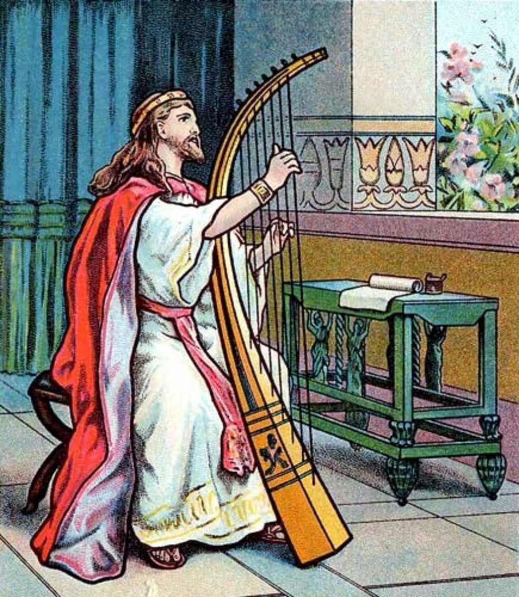 A harpist playing a harp.