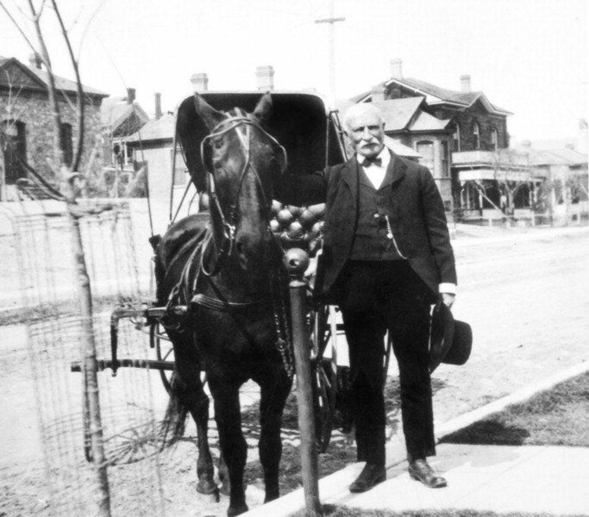 Dr. William W. Mayo is pictured here with his medical supply wagon
