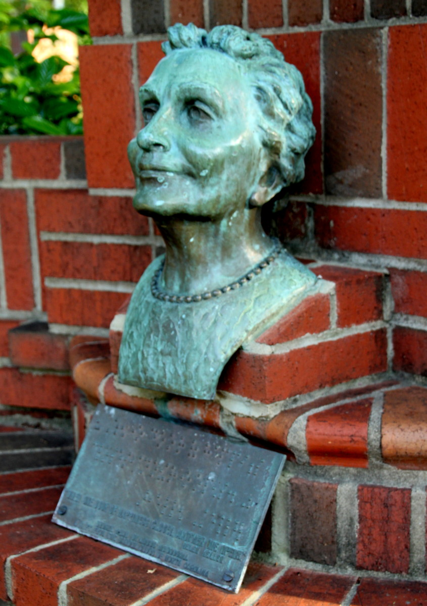 This bronze bust of Helen Keller resides in the Martha Frank Garden at The Governor Morehead School for the Blind in Raleigh, NC