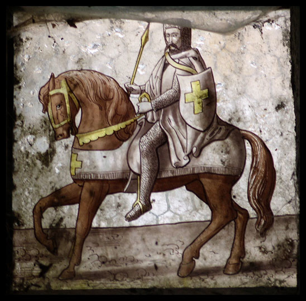 Stained glass in a Cornwall church depicting a Knight Templar.