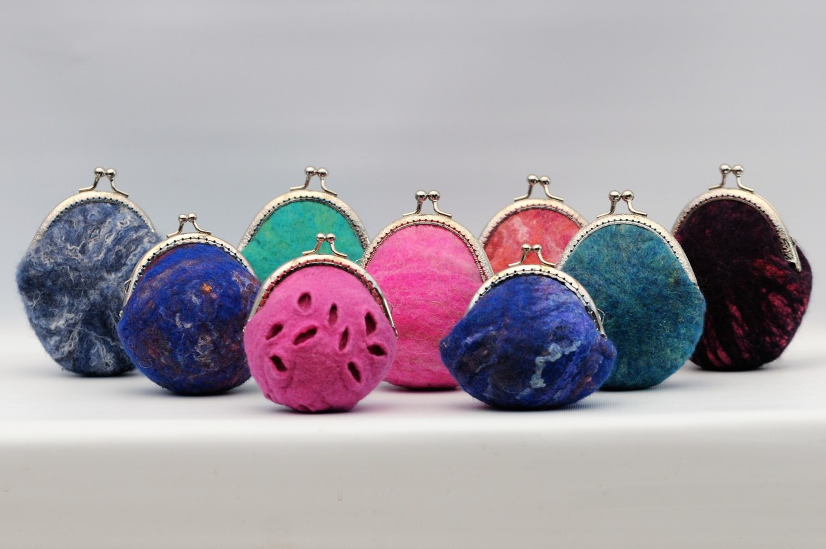 This group of wet felted purses were made using templates.
