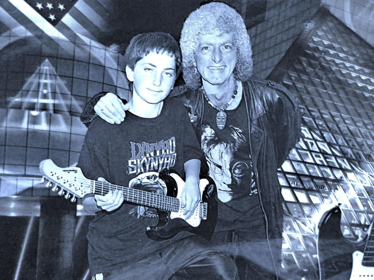 My son and I at thr Rock And Roll Hall of Fame.