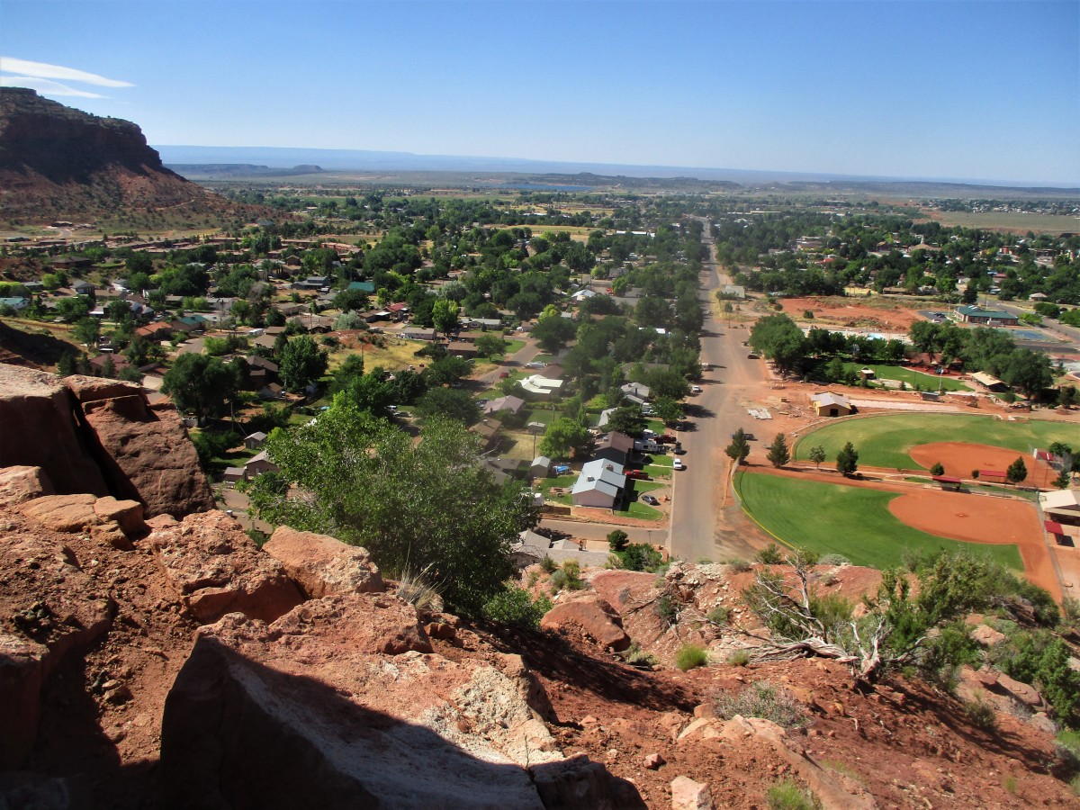 Kanab is just an Indian word, which means the place of the willows. In this picture, Kanab is viewed from the red rock cliffs that border the north side of town.