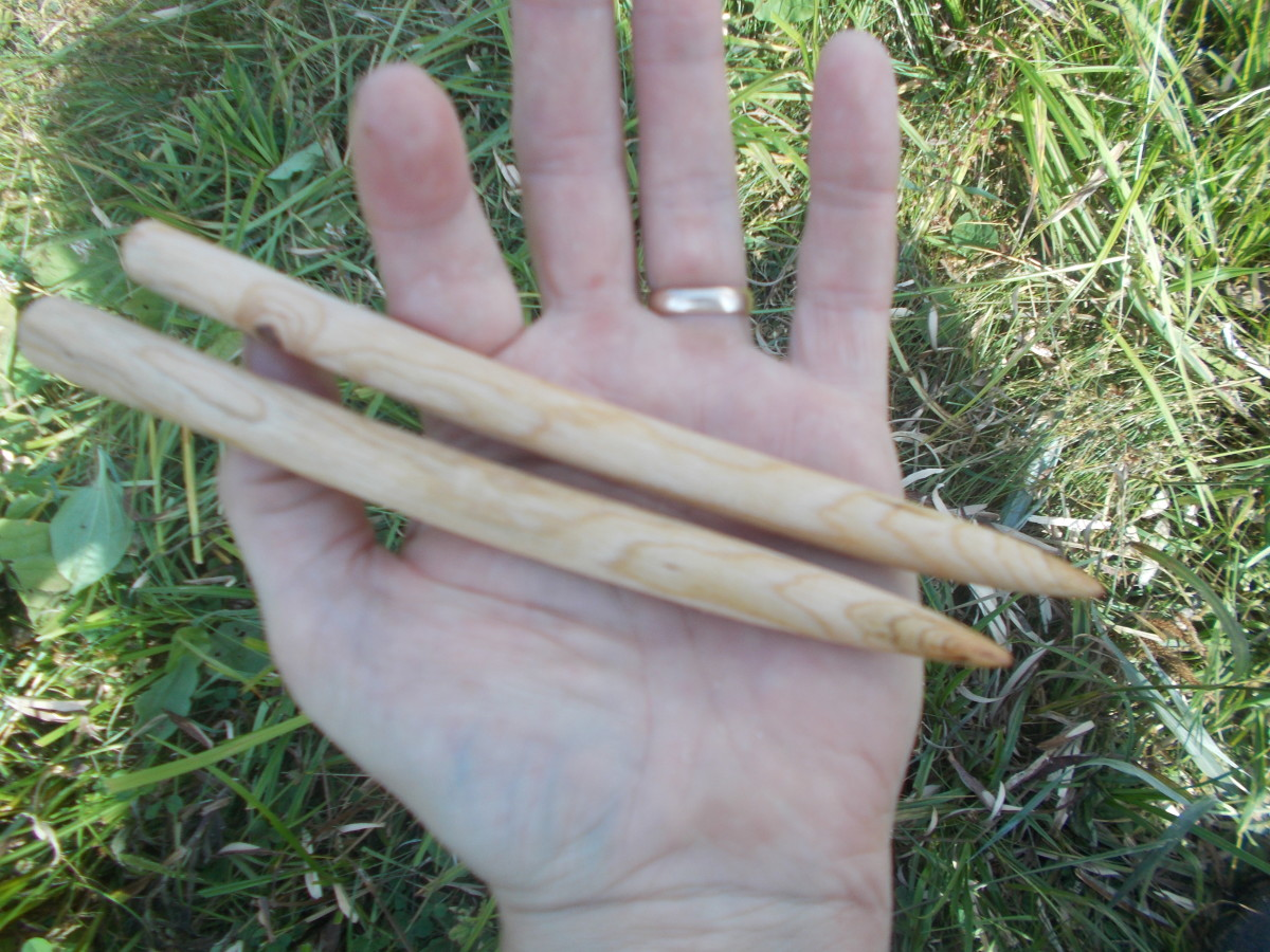 Seven inch chokecherry carved hair sticks